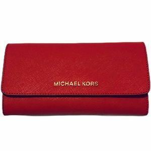 NWOT Michael Kors Red Jet Set Trifold Wallet
